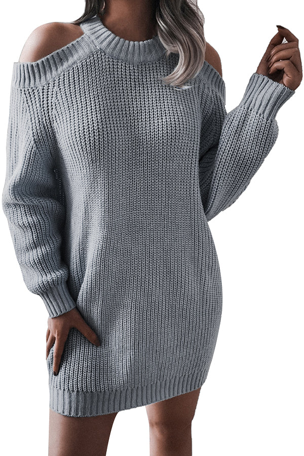 High Neck Cold Shoulder Womens Sweater Dress