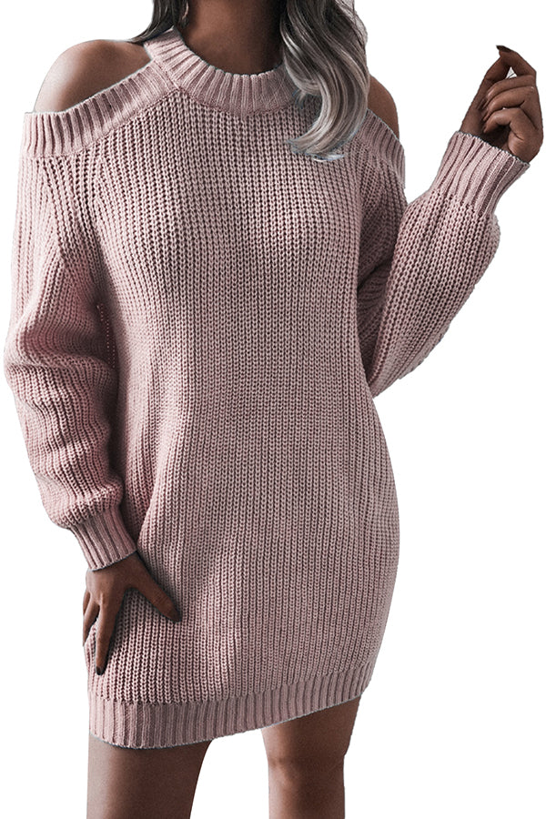 Crew Neck Cold Shoulder Long Sleeve Sweater Dress