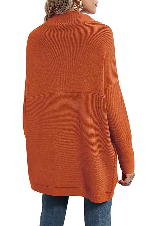 Mock Neck Sweater Dress Knit Slouchy Tunic Top