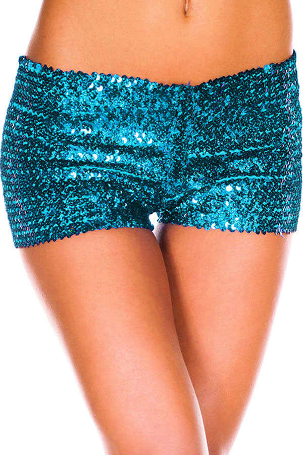 Womens Sexy Sequined Plain Mini Shorts Blue