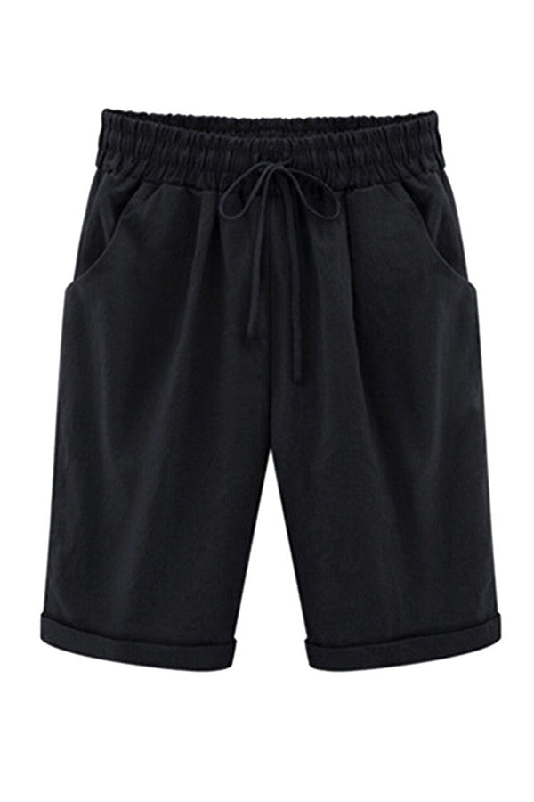 Womens Plus Size Drawstring Waist Plain Knee Length Shorts Black