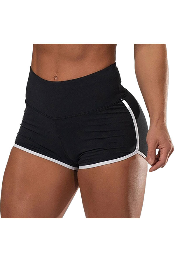 Women's Fitness High Waisted Color Block Running Shorts Black