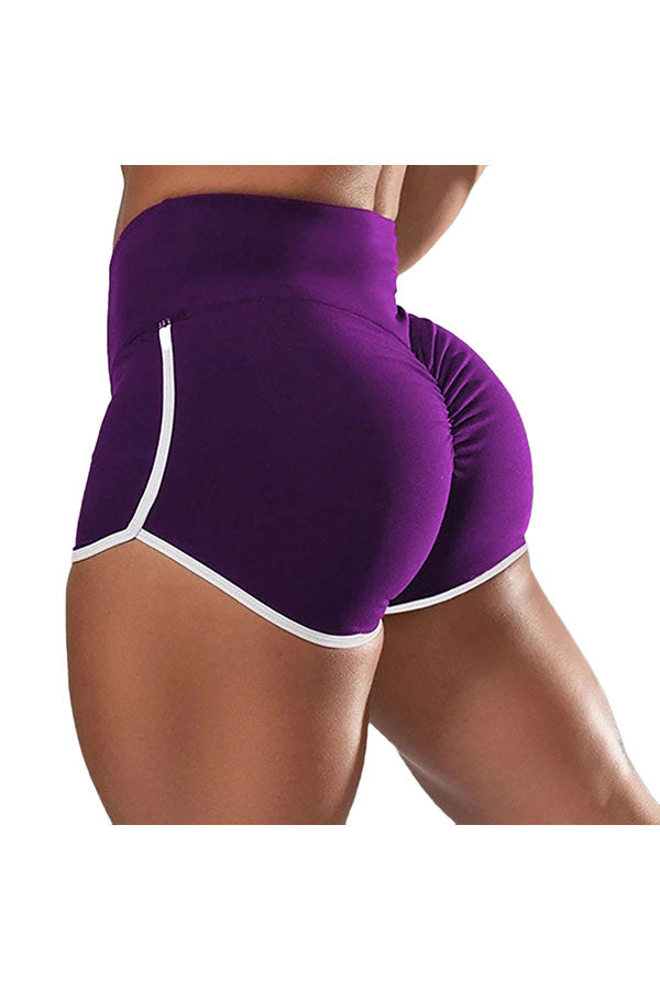 Women's Sexy Color Block High Waisted Gym Shorts Purple