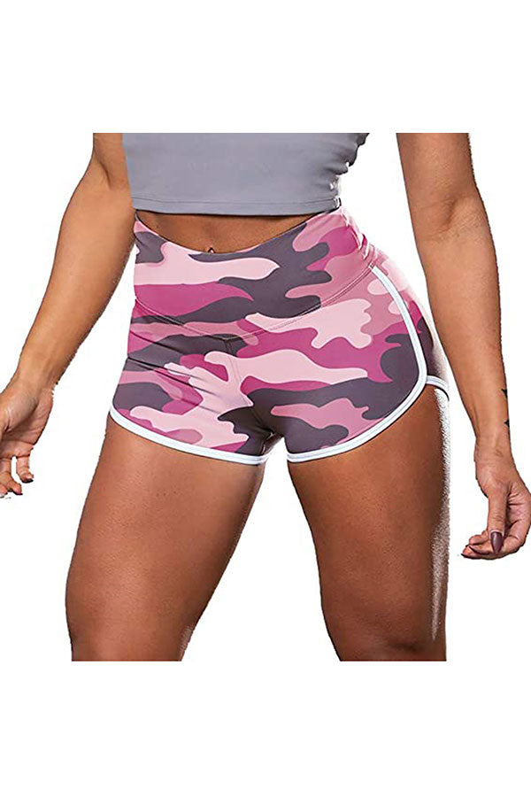 Camouflage Print High Waisted Fitness Workout Shorts For Women Pink
