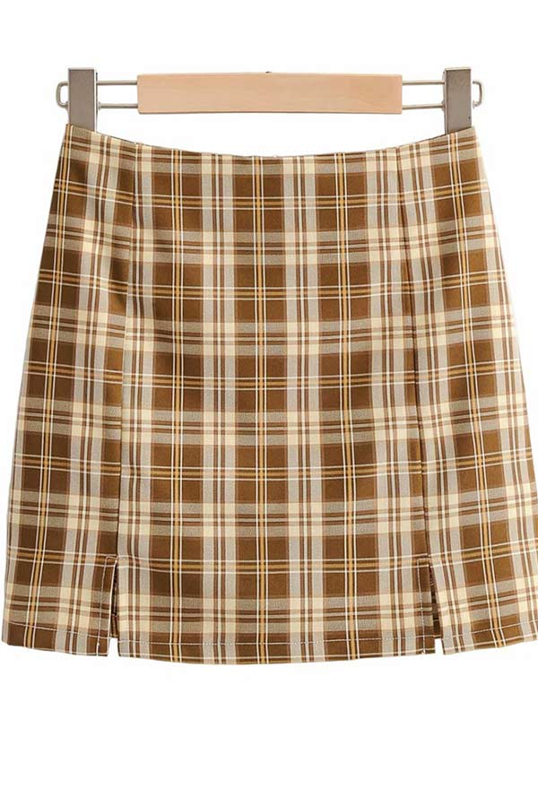 Women's Plaid Zipper Back High Waisted Plaid Skirt