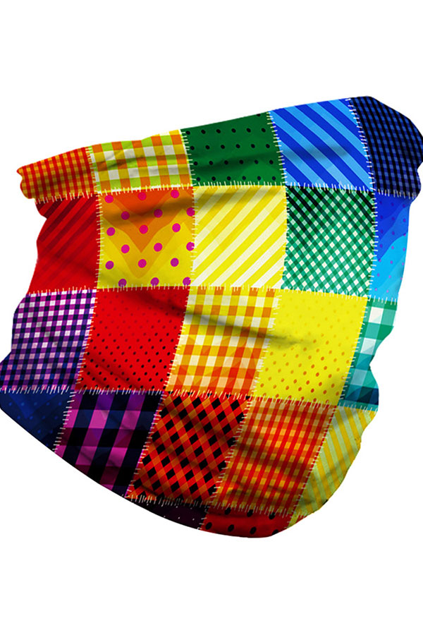Colorful Plaid Print Motorcycle Neck Gaiter Blue