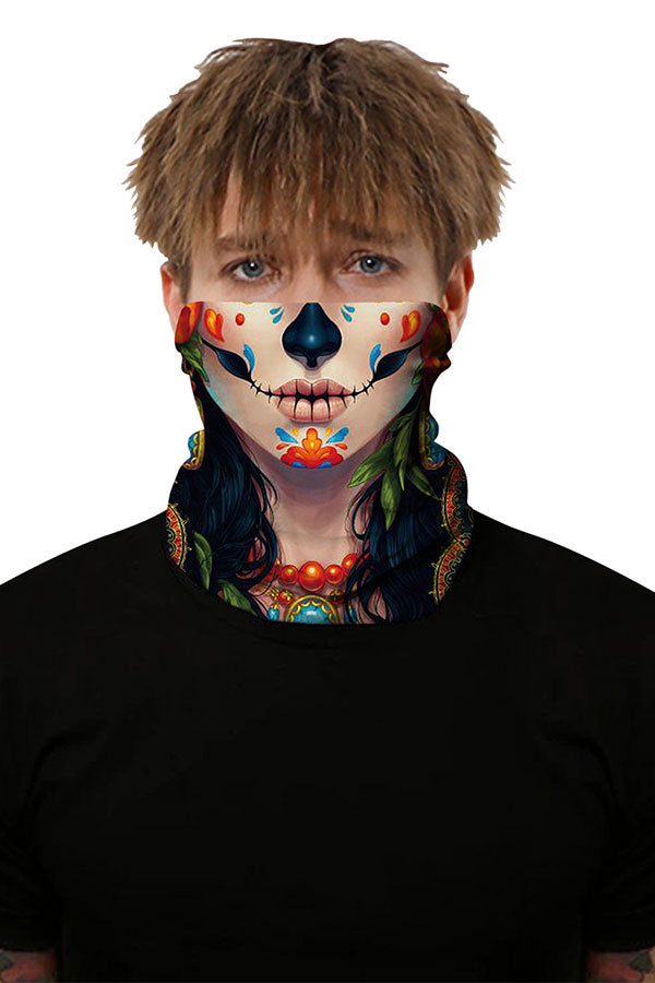 Day Of The Dead Skull Print Outdoor Neck Gaiter Khaki
