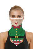 Unisex Ugly Christmas Face Shield Neck Gaiter Dark Green