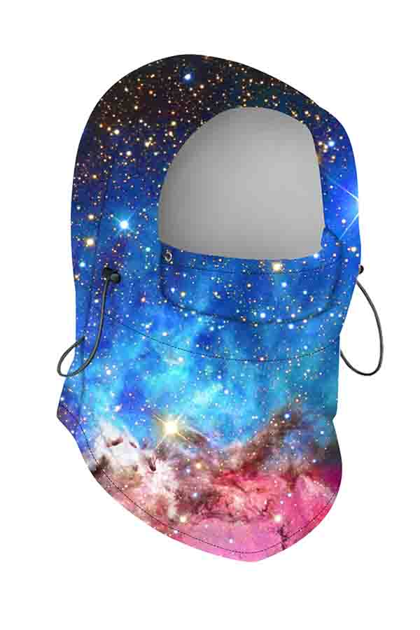 Unisex Windproof Outdoor Galaxy Print Balaclava Light Blue