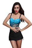 Blue Sexy Womens Sea Wave Printed Strap Skirted Swimsuit