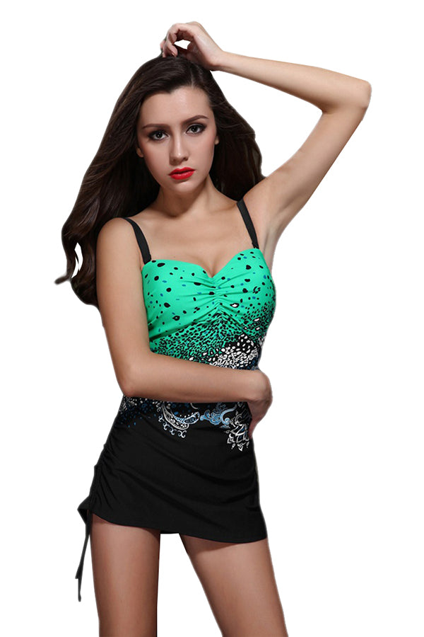 Green Sexy Womens Sea Wave Printed Strap Skirted Swimsuit