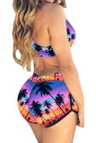 Rose Red Coconut Tree Swimwear Top&Swimwear Bottom
