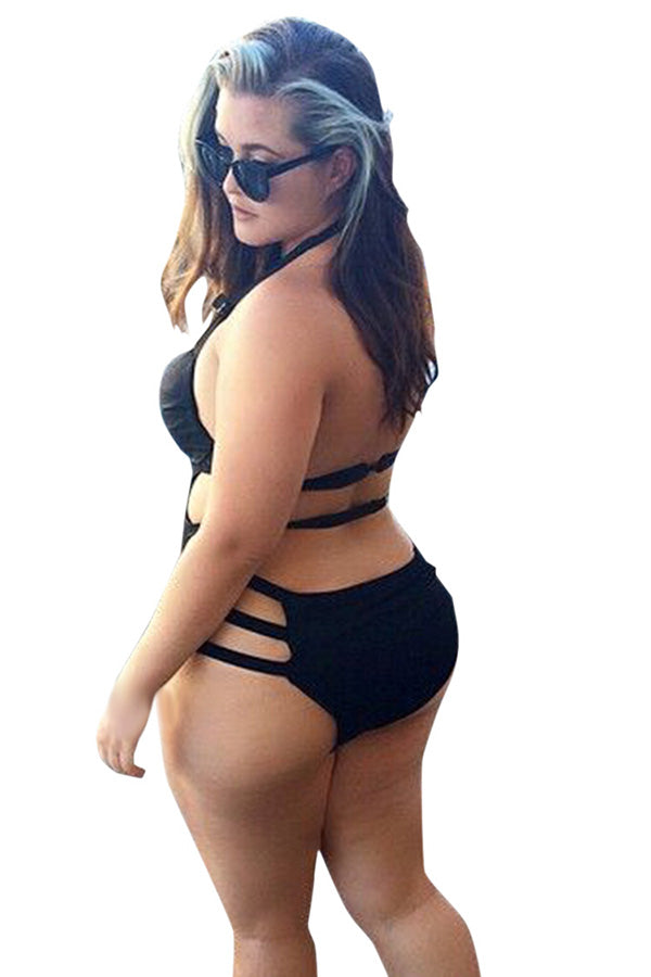 Sexy Strappy Side Cut Out Plus Size One Piece Swimsuit Black