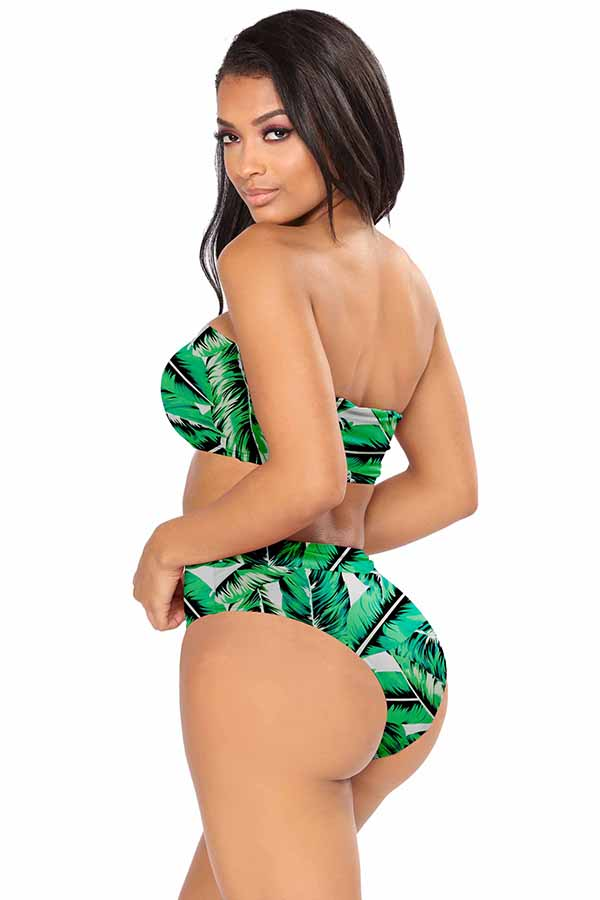 Tropical Print Bandeau Top High Waisted Bikini Set Oliver Green
