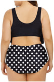 Plus Size Ruffle Polka Dot Bikini Set Dull Black