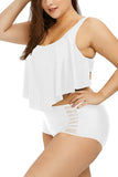 Plus Size Plain Ruffle High Waisted Bikini Set White