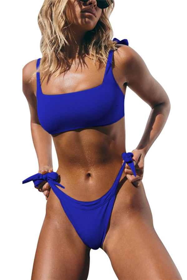 Square Neck High Cut String Bikini Set Sapphire Blue