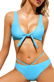 Cut Out Knotted Plain Bikini Set Blue
