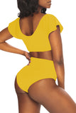 Cape Sleeve Plain High Waisted Bikini Set Yellow