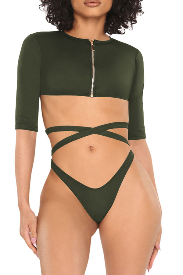Half Sleeve Zip Up Tie High Cut Two-Piece Swimsuit Olive