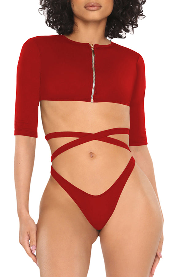 Half Sleeve Zip Up Tie High Cut Two-Piece Swimsuit Red