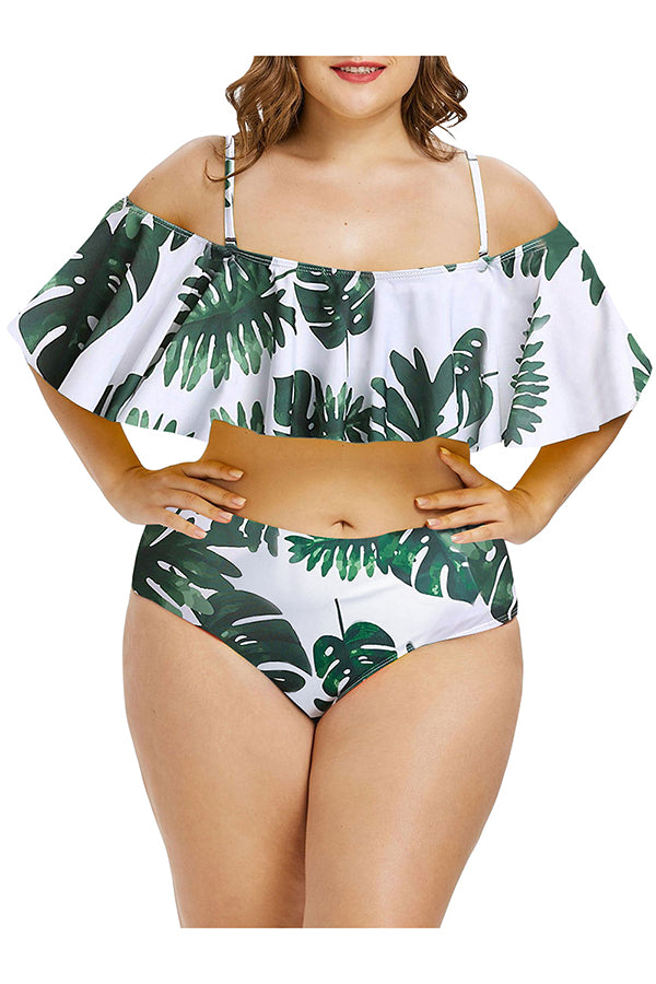 Plus Size High Waisted Ruffle Two Piece Swimsuit