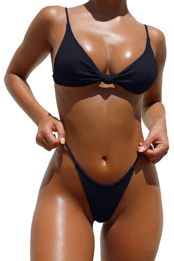 V Neck Knot Plain High Cut Two-Piece Triangle Bikini Black