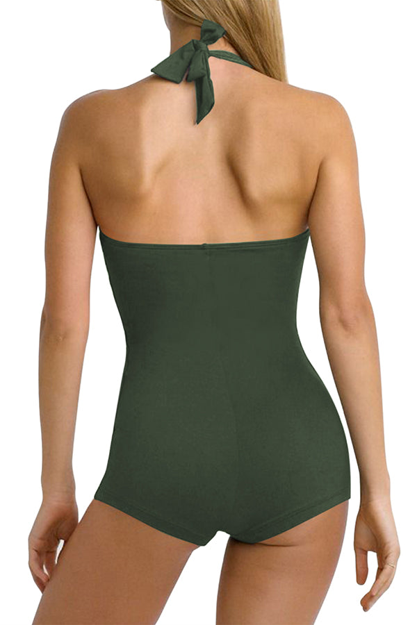 Ruched Tummy Control Boyleg One Piece Swimsuit Olive