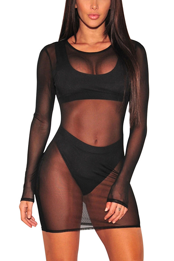 Long Sleeve Mesh Swimsuit Cover Up Dress Black