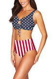 American Flag Print High Waisted Two Piece Swimsuit