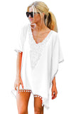V Neck Short Sleeve Pom Pom Trim Crochet Patchwork Beach Dress White