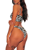 Leopard Print High Cut Bandeau Bikini Set