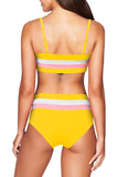 Spaghetti Straps Striped High Waisted Bikini Set Yellow