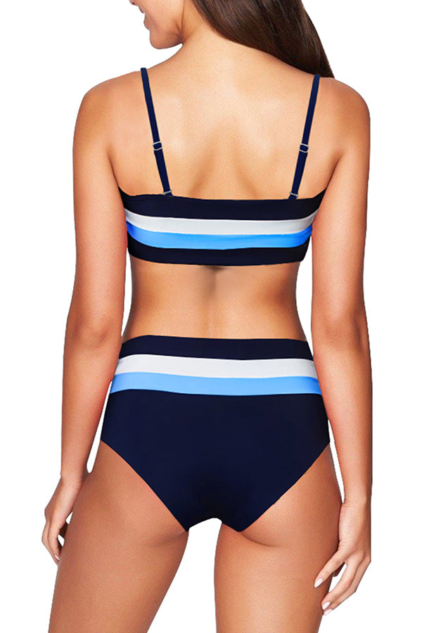 Color Block High Waisted Bikini Set Navy Blue