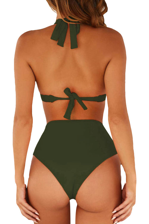 Backless Triangle Top High Waisted Two Piece Swimwear Olive