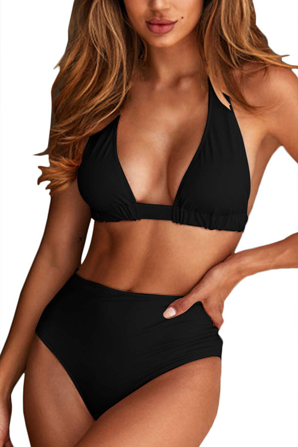 Solid Halter Backless High Waisted Cheeky Bikini Set Black