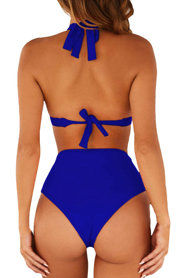 Sexy Halter Triangle Top Cheeky Plain Swimsuit Sapphire Blue