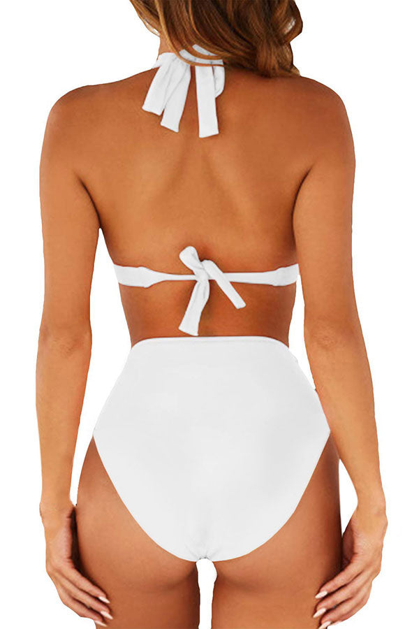 Halter Tie Back High Waisted Plain Two Piece Swimsuit White