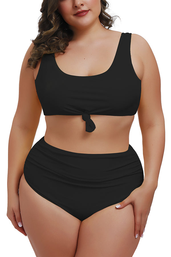 Plus Size Knotted Crop Top High Waisted Two Piece Swimsuit