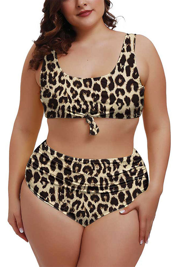 Plus Size Leopard U Neck Tie High Waisted Two Piece Swimsuit Brown