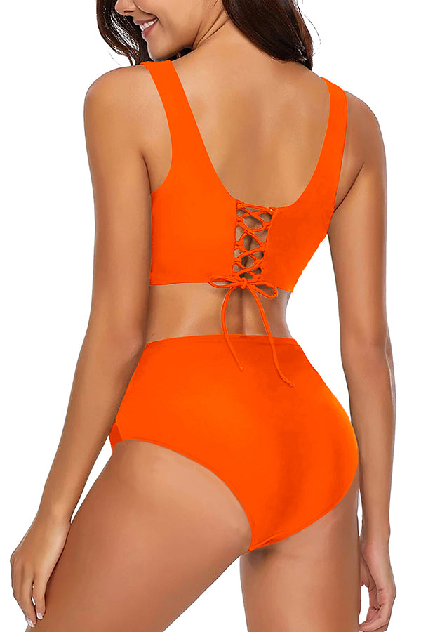 Solid Pleated High Waisted Lace Up Back Bikini Set Orange