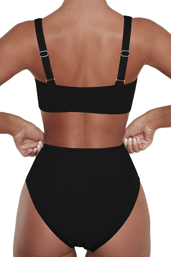 High Waisted Ruched Twist Plain Two Piece Swimwear Black