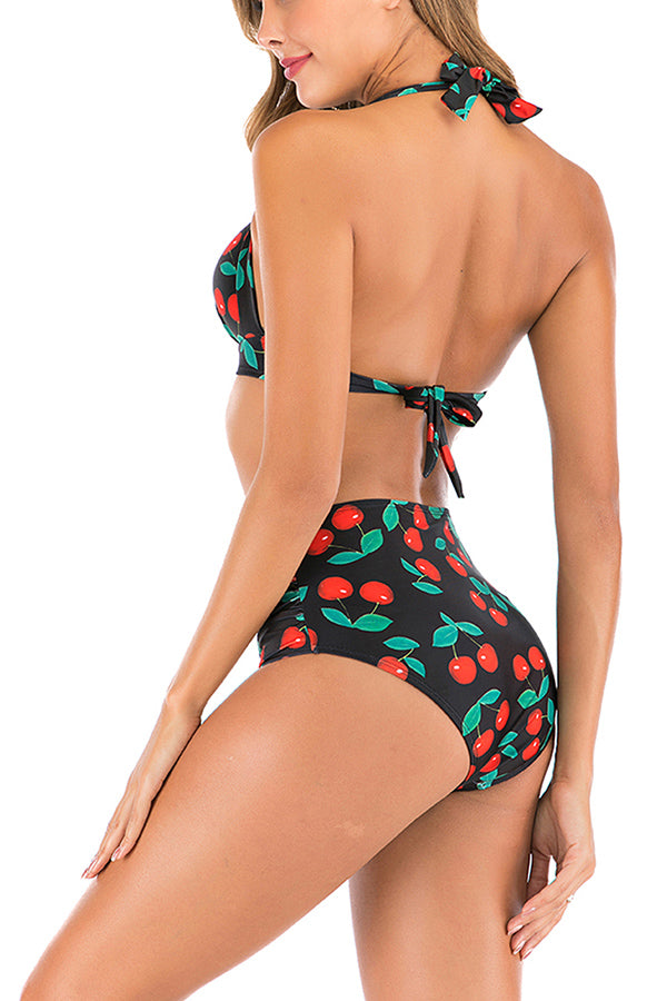 Halter Fruit Print Open Back High Waisted Ruched Bikini Set Black