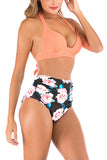 Floral Print Halter Tie Back High Waisted Ruched Bikini Set Coral