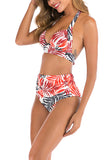 Leaf Print Halter Backless High Waisted Ruched Bikini Set Tangerine
