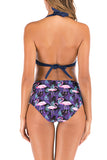 Flamingo Print Halter Self Tie Ruched High Waisted Bikini Set