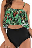 Spaghetti Straps Ruffle High Waisted Floral Bikini Set Green