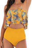 Women's Floral High Waisted Ruffle Two Piece Swimwear Yellow