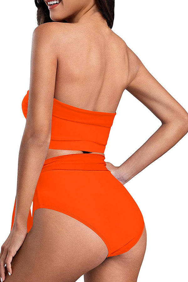 Women's Solid Bandeau Top High Waisted Bikini Set Orange