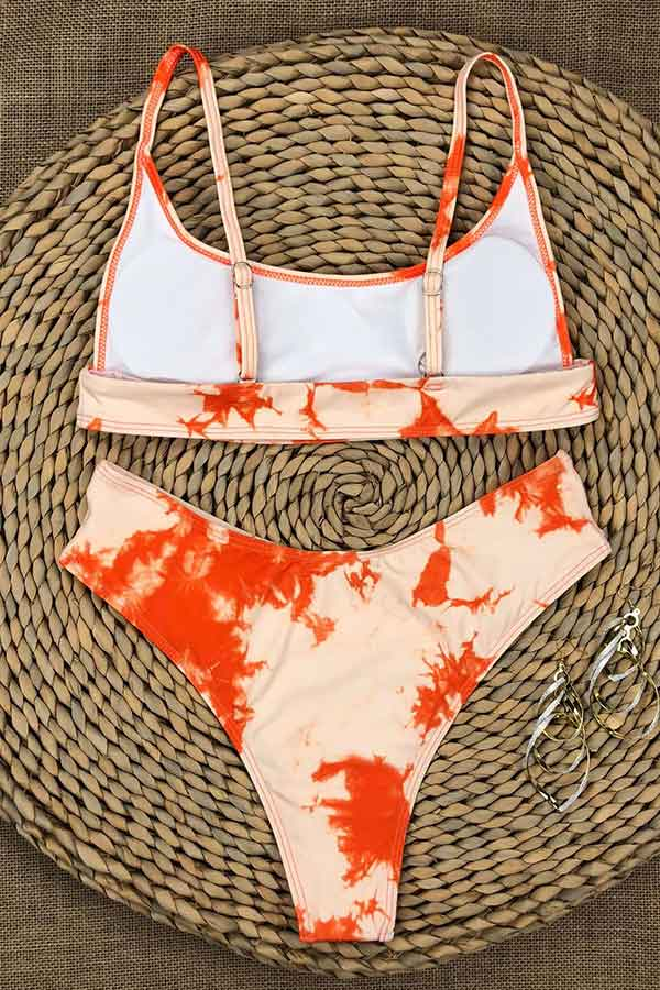 Sport Scoop Neck High Cut Bikini Set Orange